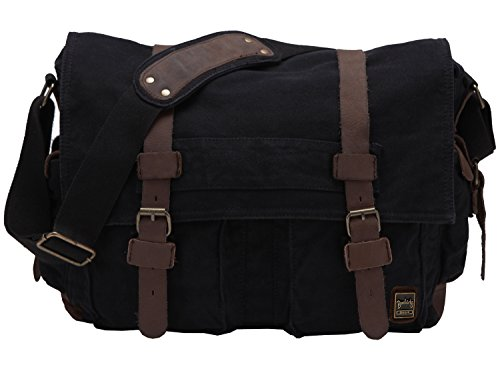 Retro Unisex Canvas Leather Messenger Shoulder Bag Fits 17.3' Laptop