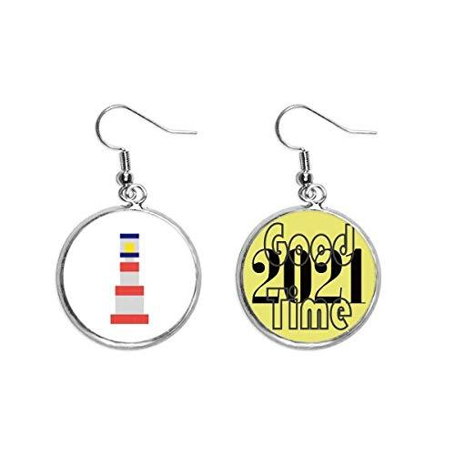 Boucles d'oreilles pendantes en forme de tour de voile - Style pixel - Cadeau tendance - 2021 - Bonne chance