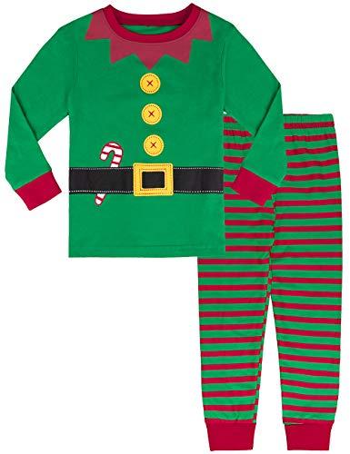 MOMBEBE COSLAND Pigiama Bambino Elfo di Natale Inverno Abbigliamento Set (Verde, 8 Anni)