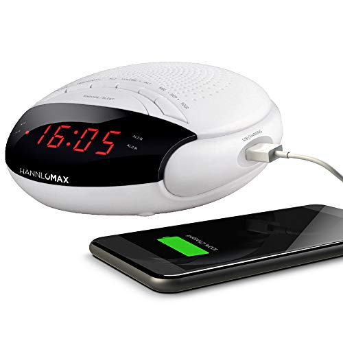 """HANNLOMAX HX-200 Alarm Clock Radio, PLL FM Radio, with Preset Stations, Dual Alarm, 0.6"""" Red LED Display, USB Port for 1A Charging, Memory Backup, AC/DC Adaptor Included (White)"""