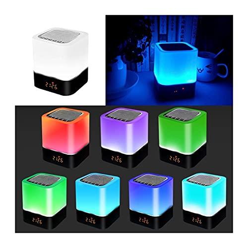 GDYJP Altavoz Bluetooth inalámbrico con lámpara de Noche de Control táctil, 7 Colores DIRIGIÓ Luz de Noche, Reloj Despertador, MP3, Portátil Inteligente DIRIGIÓ Lámpara de Mesa del Sensor táctil