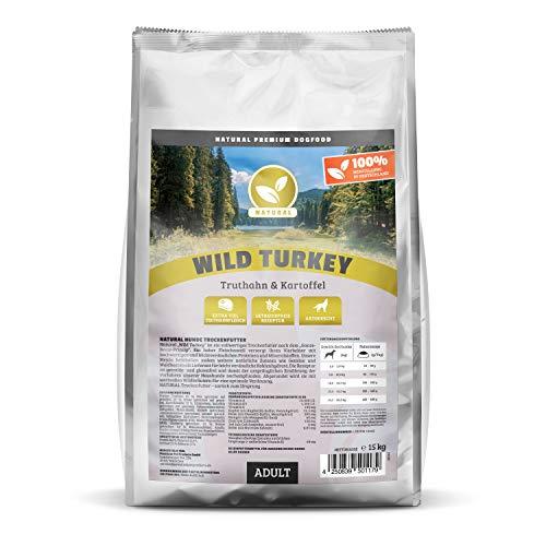 NATURAL | Wild Turkey | 15 kg | Truthahn + Kartoffel | getreidefreies Hundefutter | Trockenfutter für alle Hunderassen | viel frisches Fleisch | artgerecht & besonders gut verträglich