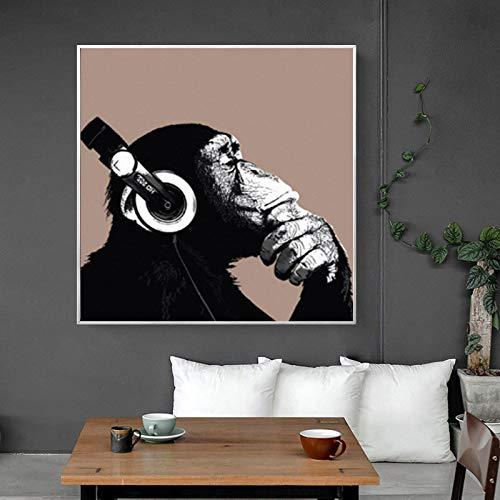 ganlanshu Leinwanddrucke-Abstrakter denkender AFFE Druck auf Leinwandplakat und Wanddekoration für Wohnzimmer70x70cmFrameless Malerei