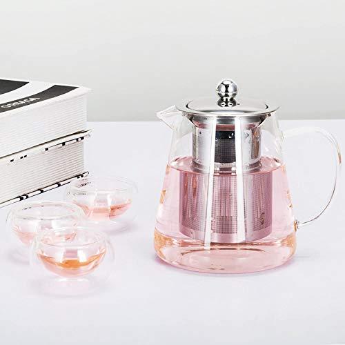 Teiera, teiera in vetro da 450ml Teiera con infusore, microonde e piano cottura sicuro, colino da tè per tè sfuso e tè in fiore