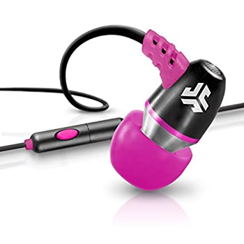 JLab Audio NEON Metal in-Ear Earbuds with Universal Mic for iPhone & Android Guaranteed for Life - Black/Pink