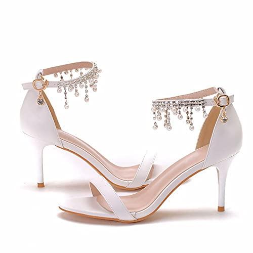 Zapatos de novia de mujer, 7CM Sandalias de tacón de aguja de...
