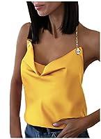 Romancly 女性のホルターセクシーなカラートーンブラウス夏バックレスタンクトップシャツ Yellow L