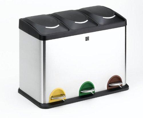 IRIS Cubo Reciclaje 45 l. 3 Compartimentos (15x3) Inoxidable