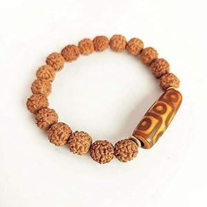 Bergmann Tibetan Dzi mit Armband Natürliche Bodhi Samen Perlen Stretch Nine Eye Dzi, 20cm für Jungen