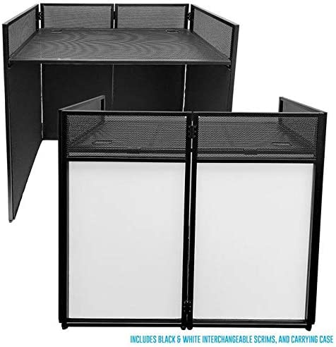AxcessAbles ES 01 Portable DJ Event Podium Standing Desk w Carrying Case Removable Black White product image