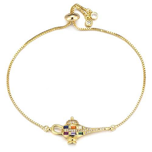 AMINIY Joyería De Circón Moda Aladdin Lámpara Charm Pulsera Cristal Slider Cadena Señoras Pulsera Pulsera (Color : Gold)