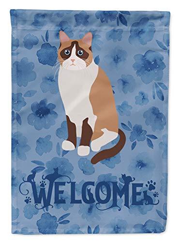 Carolines Treasures CK5063GF Schneeschuh Katze Welcome, Gartengröße, Outdoor-Flaggen, Mehrfarbig