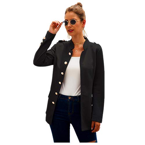 Collarless Blazer Women, NRUTUP Long Sleeve Casual Blazer, Elegant Work Office Blazer Suit Jacket (Black, 4)