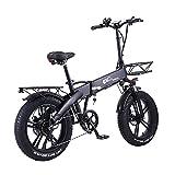 GT20-PRO 20 Pulgadas Bicicleta eléctrica Plegable, batería Oculta, Motor Potente de 48V 750W, Bicicleta de Nieve de Alta Velocidad (Black, 10Ah + 1 batería Repuesto)
