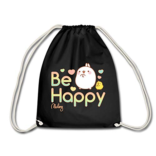Spreadshirt Molang Piu Piu Be Happy Spruch Turnbeutel, Schwarz