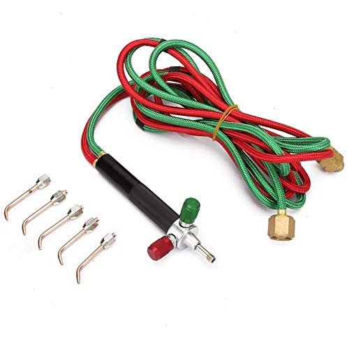 Gasschweißbrenner BiuZi 1 Satz Mini-Sauerstoff-Acetylen-Schweiß-Löt-Kit Kupfer- Und Aluminium-Gasbrenner-Löt-Kit + 5 Austauschbare Spitzen