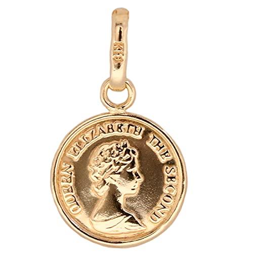 コイン ペンダント k18 10mm 単品 クイーンエリザベス シンプル ゴールド 18k メンズ レディース 18金 チャーム 金貨 トップ