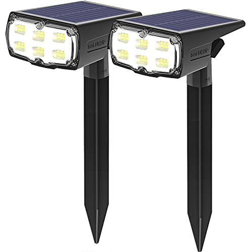 GOLUMUP Luci Solari da Esterno, 36 LED Faretti Solari da Giardino, Cortile, Vialetto, Piscina e Campeggio Impermeable IP67 - Bianco Freddo (2 Pezzi)
