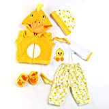 Zero Pam Yellow Duck Cute Reborn Baby Dolls Clothes OOAK Doll Clothes Newborn Size fit for 18-21 Inch Newborn Baby 5 Sets Suit