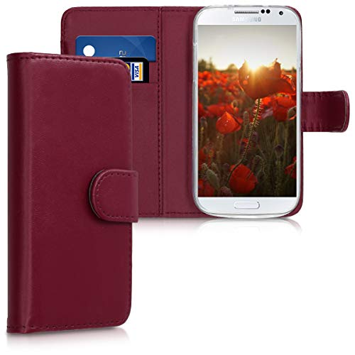 kwmobile Samsung Galaxy S4 Mini Hülle - Kunstleder Wallet Case für Samsung Galaxy S4 Mini mit Kartenfächern & Stand - Bordeaux