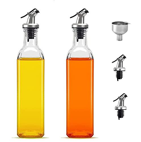 Spruzzatore Olio Dispenser Cucina in Olio y Aceto 2 x 250 ml Con Inossidabile Beccuccio y Senza Piombo Vetro per BBQ Insalata Pane di Cottura