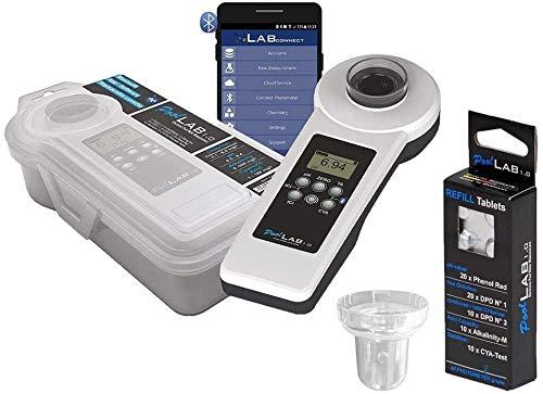 well2wellness® Elektronischer Pool Wassertester PoolLab 1.0 - Prime Version 3 Plus 1 x Refill + 1 x Küvette extra