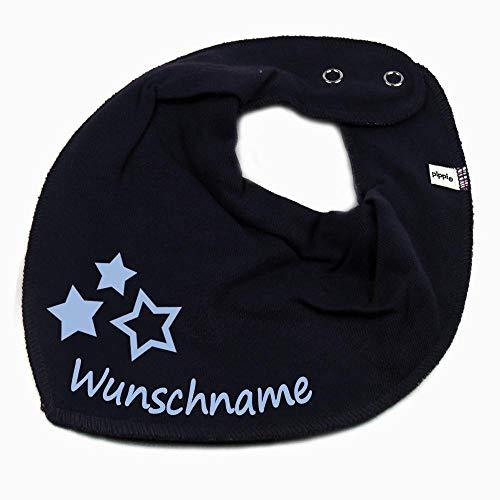 Elefantasie HALSTUCH drei Sterne mit Namen oder Text personalisiert dunkelblau für Baby oder Kind
