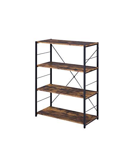 Acme Furniture Tesadea Bookshelf, Rustic Oak and Black
