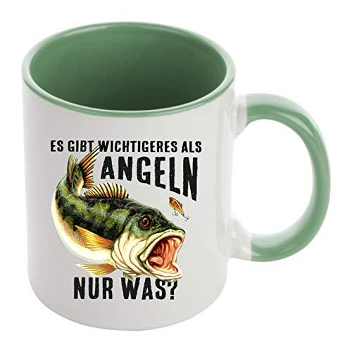 KMC Austria Design Tasse Kaffeebecher mit Motiv für Angler und Fischen Höhe: ca. 9,7 cm, Ø ca. 8,2 cm Material: Keramik Füllmenge: 300 ml Tasse im Geschenkkarton (Grün)
