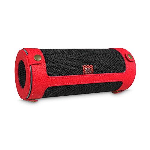 Fintie JBL Flip 4 draagbare luidsprekerhoes, afdekking, hoogwaardig kunstleer, beschermhoes, tas, case met karabijnhaak voor JBL Flip4, draagbare luidspreker, zwart rood