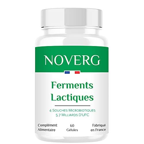Ferments Lactiques | Probiotiques | 4 Souches dont 2 Lactobacillus | 5.7 Milliards D'UFC | Digestion, Transit, Immunité | Vegan | Haute Qualité | 60 Gélules | 1 Mois | Fabriqué en France
