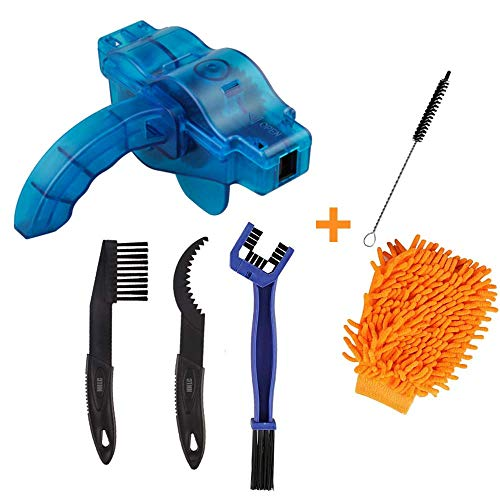 Bicycle Cleaning Brush Tools Set Including Bike Chain Scrubber, Suitable for Mountain, Road, City, Hybrid, BMX and Folding Bike, Bike Chain Cleaner (6Pcs)