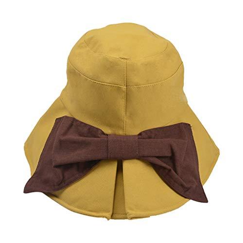Dama Sombrero,Mujer Pamela Sombrero Plegable ala Ancha Floppy Gorra Plegable Ajustable Packable...