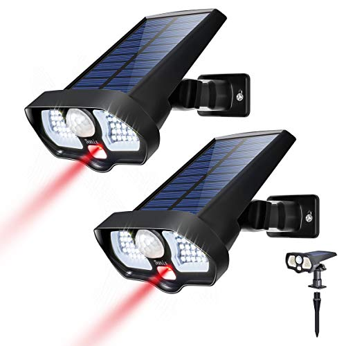 Solar Motion Sensor Light Outdoor 42 White LEDs 2 Red LEDs Ultra Bright, 2 in 1 Landscape Solar Wall Solar Light Wireless Solar Security Light Great Detection for Garden Driveway Carport Patio 2Pack