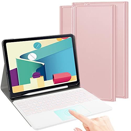 TASTATUR für Samsung Galaxy Tab S7 FE/S7+ Beleuchtete Tastatur mit Trackpad,(Deutsches QWERTZ) Tastatur Hülle für Samsung Galaxy Tab S7 Plus / S7 FE 12,4 Zoll, Roségold