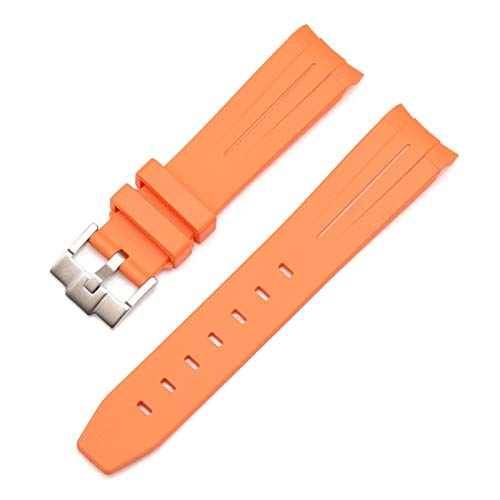RHBLHQ Correa de Silicona Correa de Goma Reloj de Reloj de Reloj de Reloj de Reloj de Reloj de Mujer 20mm 21mm 22mm Correa de Silicona (Color : Orange Silver Buckle, Size : 21mm)