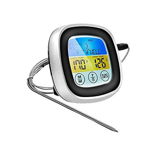 LKNJLL Gran Pantalla LCD Digital Que Cocina el termómetro de Carne for el Horno ahumador Cocina Parrilla del Reloj del termómetro Temporizador con el Acero Inoxidable sonda de Temperatura