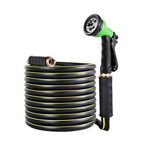 BUYOOKAY Garden Soaker Hose with 7 Function Spray Nozzle Flat Hose 15/30ft with 5/8''Diameter Bronze Interface Saves Water Great for Garden Flower Beds (5/8 inch by 15 feet)