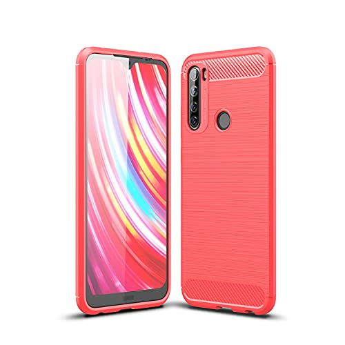 GUOQING Carcasa de telefono para Xiaomi Redmi Note 8T Funda de Fibra de Carbono Textura TPU a Prueba de choques Anti-Shock Resistente a los shatters Protectores DE Protectores (Color : Red)