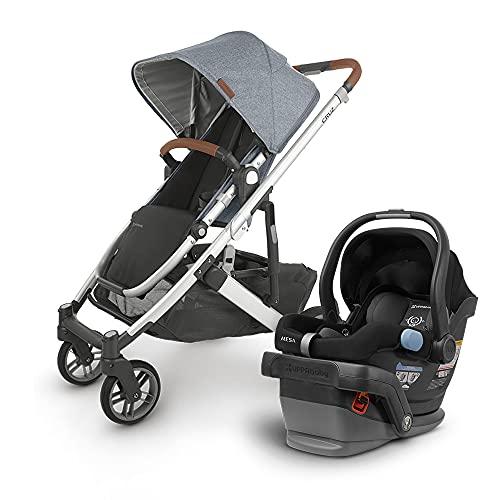 UPPAbaby Cruz V2 Stroller - Gregory (Blue Marl/Silver/Saddle Leather) + Mesa Infant Car Seat - Jake (Black)