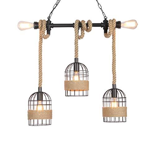 Lámpara de techo colgante retro con cuerda y altura ajustable, vintage, de acero y madera, incluye E27 Industrial Lámpara de techo para comedor, salón, cocina, cafetería, bar (5 casquillos)