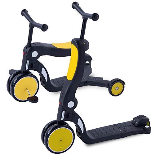 [1年保証] MRG 5way キッズスクーター 3輪 キックボード 子供用 幼児用 シート 折りたたみ ブレーキ付 三輪車 3輪車 2歳 から 6歳 ミニ キッズバイク トレーニングバイク 乗り物 おもちゃ 乗用玩具 (イエロー)