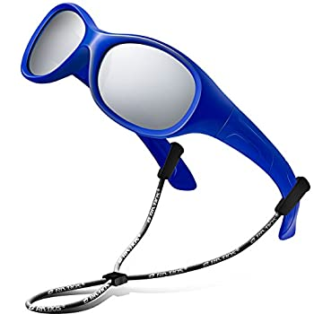 RIVBOS Kids Sunglasses Boys with Strap Polarized Rubber Flexible Shades for Toddler and Children Age 3-10 RBK003-3 Round Blue Coating