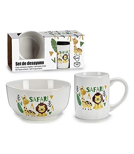 BigBuy Home Set De Menaje Infantil Porcelana (26 X 7 X 13,8 Cm) 2 Piezas