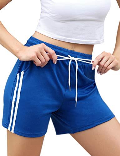 Enjoyoself Damen Kurze Sporthose Gestreift Stretch Sommer Sweatshorts...