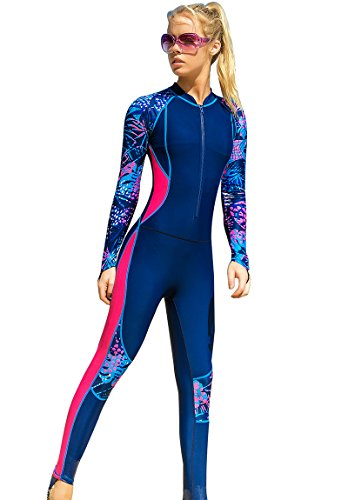 Akaeys Women's Full Body Swimsuit Rash Guard One Piece Long Sleeve Long Leg Swimwear with UV Sun Protection, Navy-3, X-Large