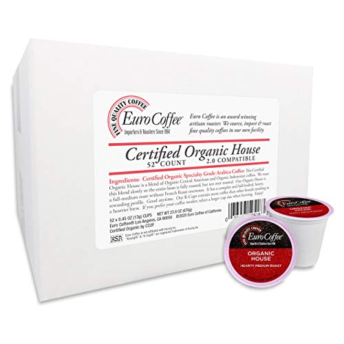 Euro Coffee Single-Serve Cups (Organic House Blend, 52 count)