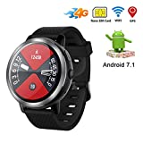 J.W. 4G Smart Phone Watch Männer, Touchscreen 3 GB RAM GPS 2MP Kamera Pulsmesser Fitness Android Smartwatch Unterstützung Nano SIM-Karte, IP67 Wasserdicht,Red