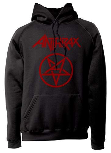 LaMAGLIERIA Sudadera Unisex Anthrax New Red Print - Sudadera con Capucha Trash Metal Rock Band Hard Rock Metal
