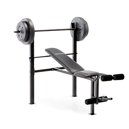 Marcy Competitor Standard Workout Bench with 80 lbs Vinyl-Coated Weight Set Combo CB-20111